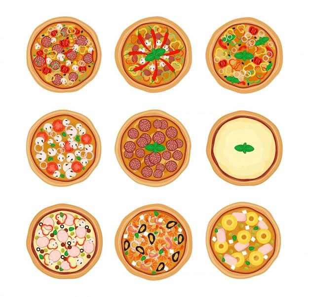 ピザは、白い背景で隔離のアイコンを設定します。さまざまな食材を使ったピザ。ベクトルイラスト。フラットなデザイン。