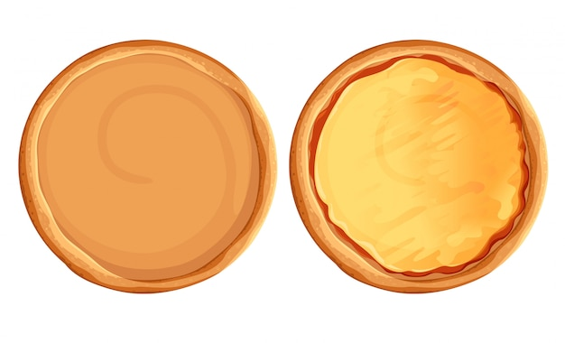 ピザセット。パイと材料。ファーストフード作成キットピザトップビューセット。 webサイトページとモバイルアプリ要素。