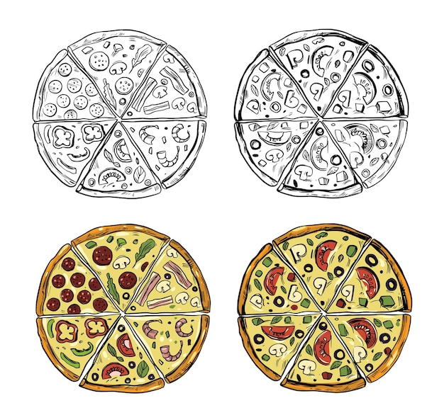 Pizza set, sketch style, doodle. hand drawn vector illustration. great for menu, poster or label.