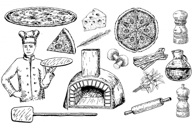 Pizza set with ingredients and kitchen utensils and oven.
