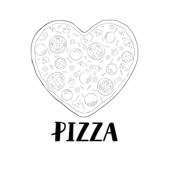 Pizza in the shape of a heart for valentine's day. hand-drawn illustration of pizza. vector sketch. vintage pattern.