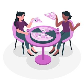 Иллюстрация концепции обмена пиццей