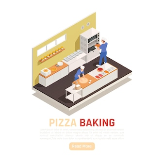 Composizione isometrica nell'area di cottura e servizio della pizzeria con il rotolamento dell'impasto che aggiunge ingredienti in forno