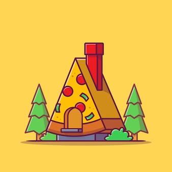 Пицца магазин мультфильм значок иллюстрации. концепция значок быстрого питания изолированы. плоский мультяшном стиле