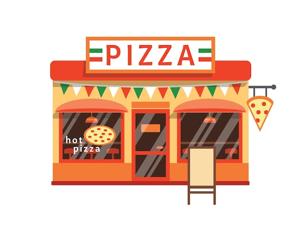 Pizza shop flat vector illustration. pizzeria building facade with signboard isolated on white background. small cafe with traditional italian cuisine. cartoon pizza margarita restaurant.