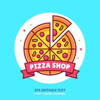 Pizza shop logo cartoon vector icon illustration premium fast food logo in flat style for logo web