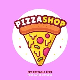 Pizza shop logo cartoon vector icon illustration premium fast food logo in flat style for restaurant