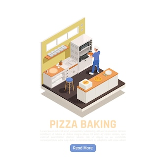 Pizza shop takeaway restaurant delivery baking and service counter isometric composition with setting in oven