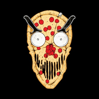 Pizza skull food illustration
