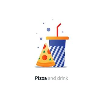 Кусочек пиццы и синий стакан с полосками, значок концепции еды и напитков, предложение кафе быстрого питания