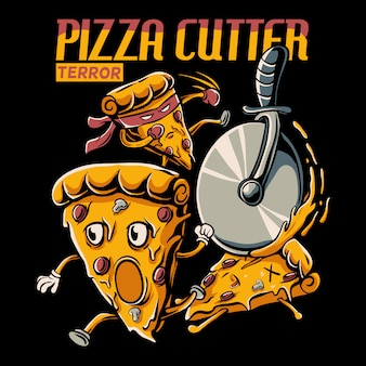 Pizza slice cartoon chased by pizza cutter wheel illustration Premium Vector