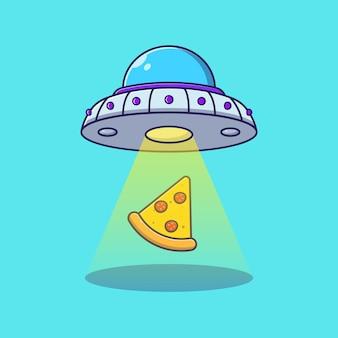 Кусочек пиццы, летающий с нло или инопланетянином. концепция значок доставки пиццы изолированы.