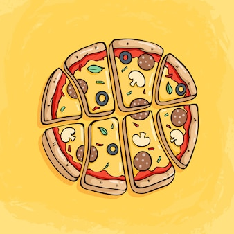 Pizza slice forming a basketball with tasty topping on yellow