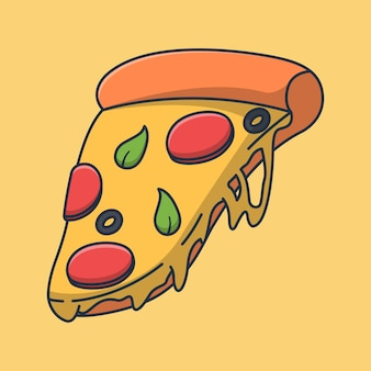 とろけるチーズでとても美味しいピザスライスイラストデザイン。孤立したフード デザイン。