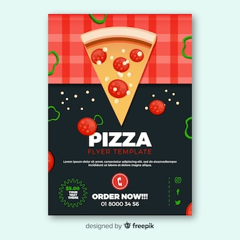 Pizza slice italian restaurant flyer