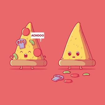 くしゃみをするピザスライス