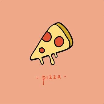 ピザスライスシンボルおいしい食べ物のベクトル図