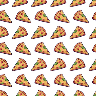 Pizza slice vector seamless pattern