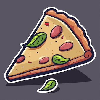 Pizza slice with cheese and basil. vector cartoon illustration