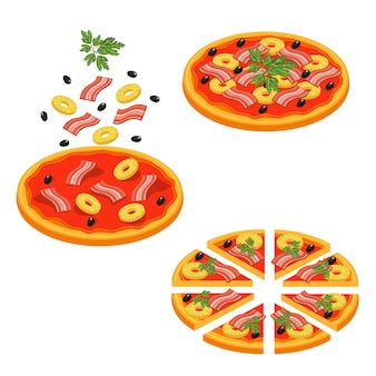 Pizza sliced isometric icon set