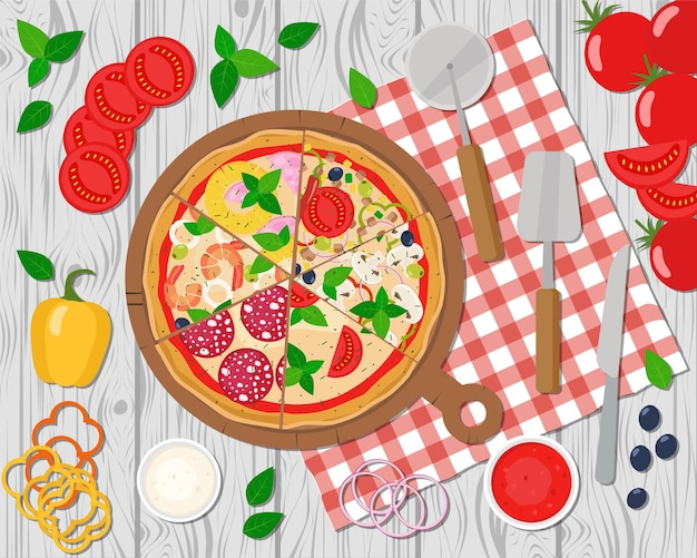 Pizza slices on the board. cooking pizza. pizza ingredients.