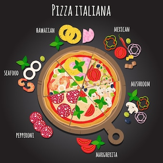 Pizza slices on the board. pizza ingredients.