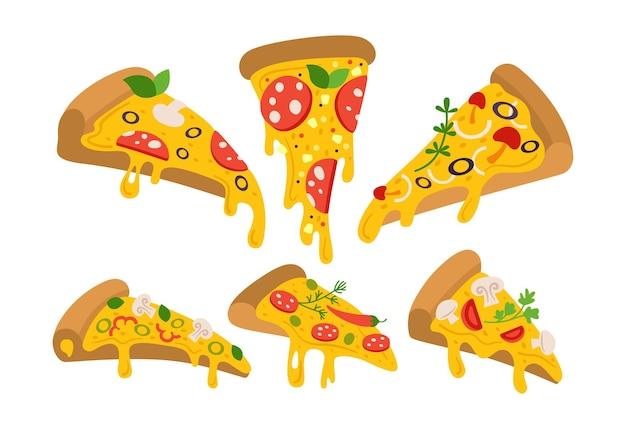 Набор мультфильм кусочки пиццы, кусочки пиццы для итальянского ретро-меню. маргарита и гавайская, пепперони или морепродукты, мексиканская коллекция. рисованная пицца с перцем, помидорами, оливками