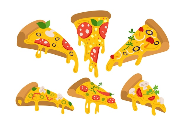 Pizza slices cartoon set, pizzas pieces for italian retro menu. margarita and hawaiian, pepperoni or seafood, mexican collection. hand drawn pizza with pepper, tomato, olive