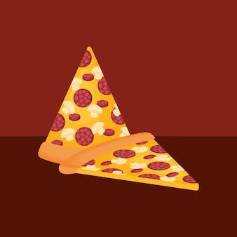 빨간색 배경 위에 피자 조각