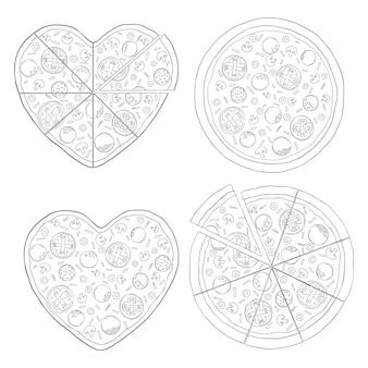 피자 조각 세트입니다. 손으로 그린 스케치 스타일 다른 피자. 메뉴 디자인, 패키지에 가장 적합합니다. 벡터 일러스트 흰색 절연입니다.