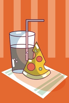 Pizza and soda over tablecloth