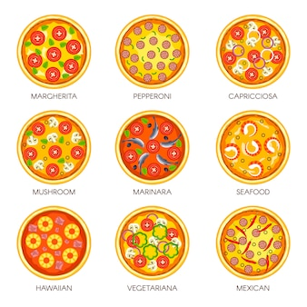 Pizza sorts vector icons templates for italian pizzeria cuisine or fast food menu