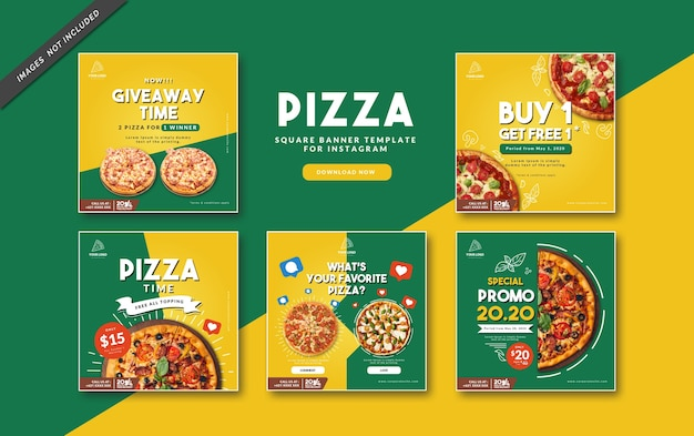 Pizza square banner template for instagram