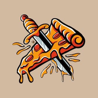 Pizza stabbed by a sword
