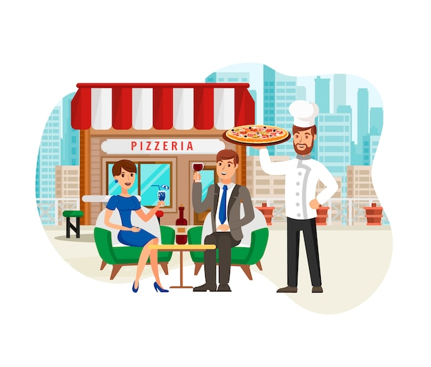 Pizza in street cafe flat vector illustration