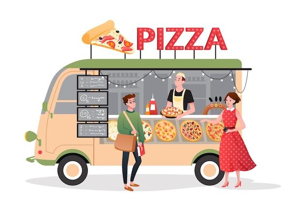 Pizza street market food truck. cartoon mini pizzeria restaurant mobile shop in van bus foodtruck marketplace, happy man seller character selling takeaway pizza fastfood to people