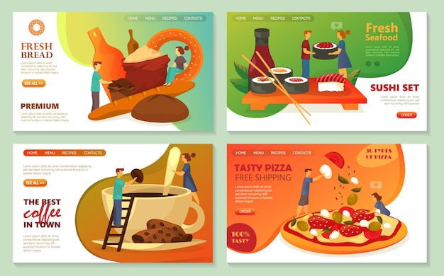 Pizza, sushi bar delivery web banners, bakery bread and pastry sweets online store landing page templates.