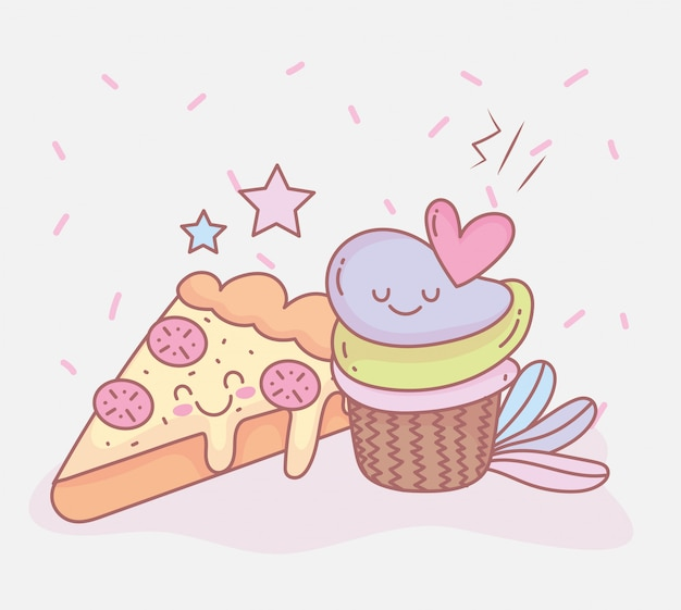 Pizza and sweet cupcake dessert menu restaurant food cute