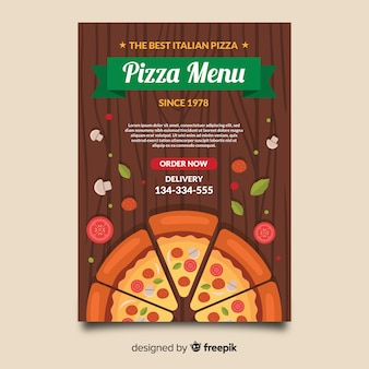 Pizza on table flyer template