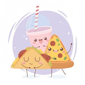 Пицца тако и сода каваи еда дизайн персонажа из мультфильма