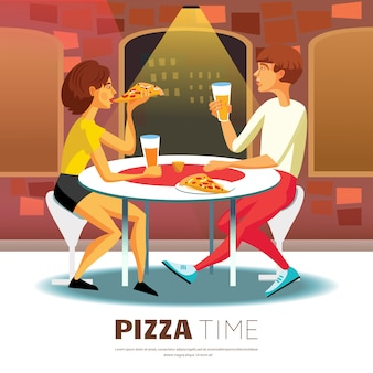 Pizza time illustration