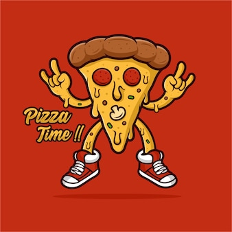 Pizza time mascot  logo