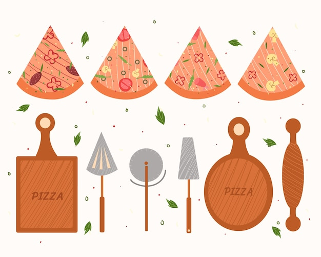 Pizza tools. illustration of slices of pizza.
