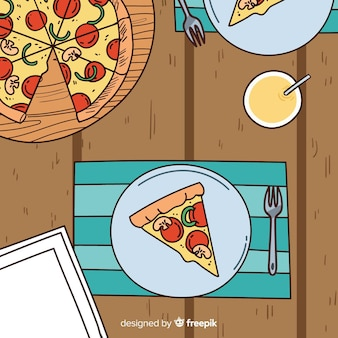 Pizza top view illustration