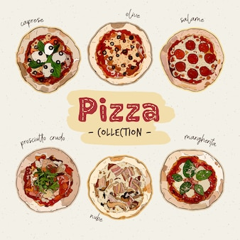 Pizza top view set with different ingredients. italian whole pizza. hand draw sketch vector.