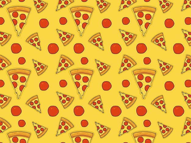 Pizza triangular slices with cheese and sausage pattern