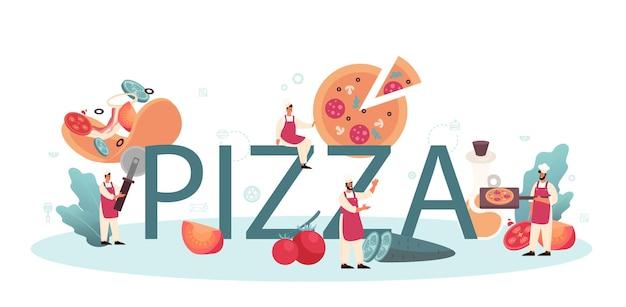 ピザの活版印刷の単語。おいしいおいしいピザを調理するシェフ。イタリア料理。サラミとモッツァレラチーズ、トマトスライス。孤立