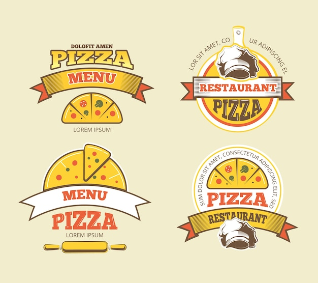 Pizza vector labels, logos, badges, emblems for fast food restaurant. logotype of menu for pizzeria