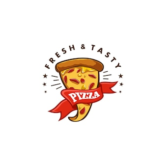 Pizza vector logo on white background
