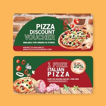 Pizza voucher design with baking, salami, dough water illustration